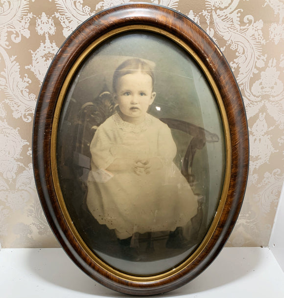 Victorian Child in Bubble glass Frame