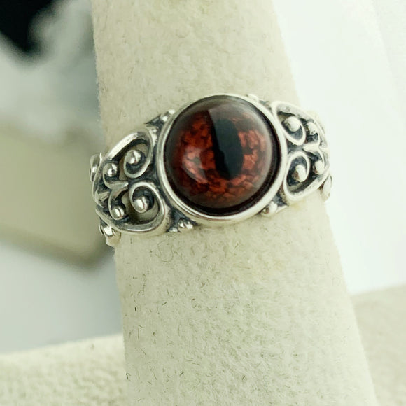 Sterling Filigree Copper Reptlie Eye Ring