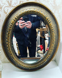 Antique Gold & Bronze Framed Oval Mirror