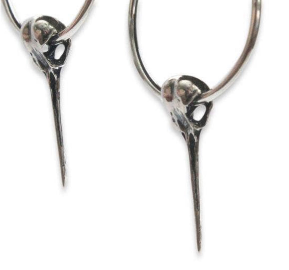 Hummingbird Skull Hoop Earrings Sterling Silver