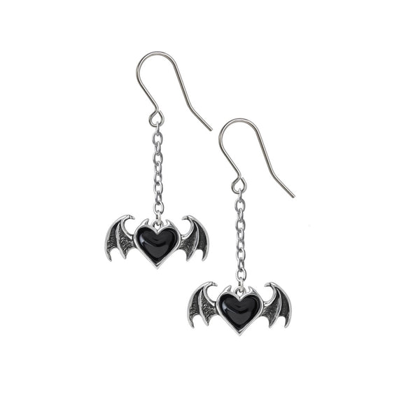 Black Heart Bat Wing Earrings