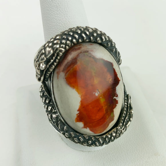 Sterling Silver Snake Fire Opal Ring