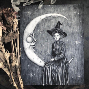 Moon Magic Witch Art Print Caitlin McCarthy