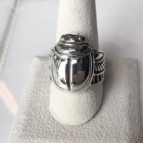 Scarab Beetle Sterling Ring