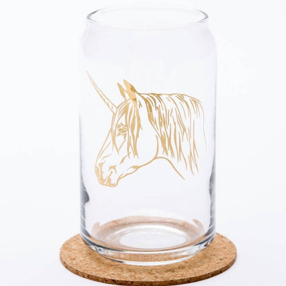 Gold Foil Unicorn Beer Can Glass