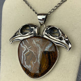 Double Vulture Skull Sterling Tigers Iron Necklace
