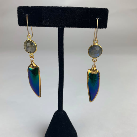 Beetle Elytra & Labradorite 24K Edged Gold Filled Earrings