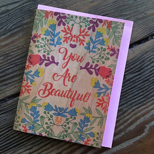 You Are Beautiful Wood Card