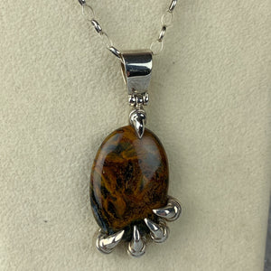 Pietersite Sterling Claw Necklace