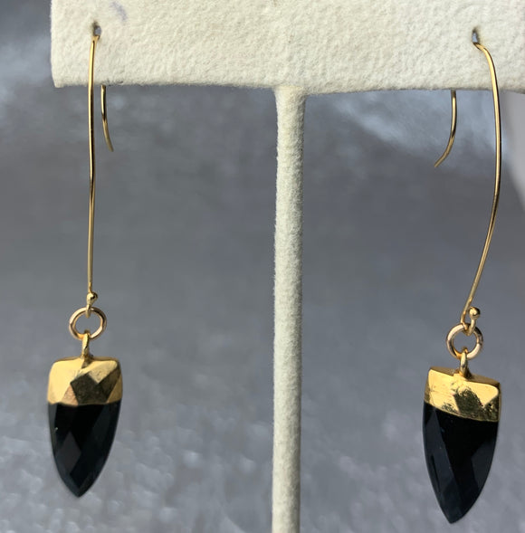 Obsidian Faceted Points 24K Gold Filled Earrings