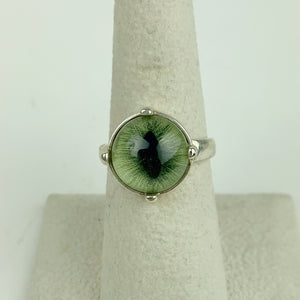 Taxidermy Feline Eye Green Sterling Ring