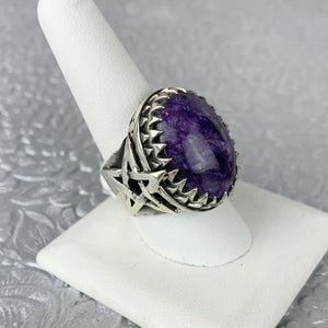 Sterling Charoite Star Ring