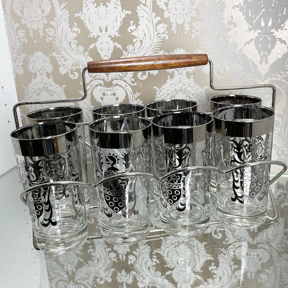 Antique Knight Silvertone Highball Bar Glasses set & Carrier