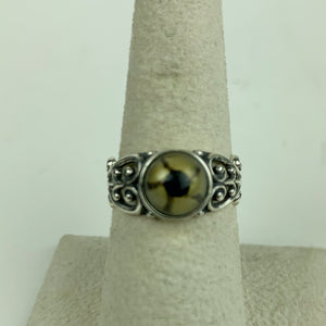 Sterling Filigree Green Reptlie Eye Ring
