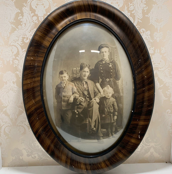 Victorian Family Photograph in Bubble glass Frame