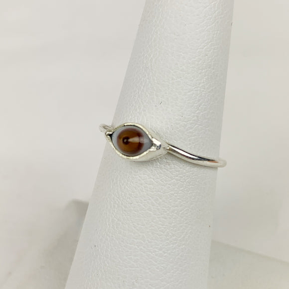 Mini Glass Eye Silver Plate Brass Ring Brown