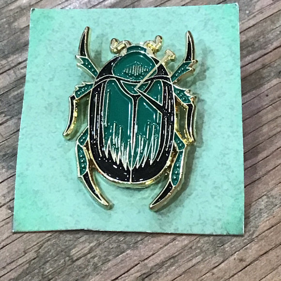 Green Scarab Beetle Enamel Pin