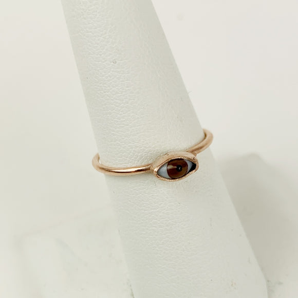 Mini Rose Gold Brown Glass Eye Ring