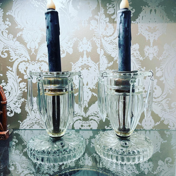 Antique Crystal Candleholders with Crystal Drops