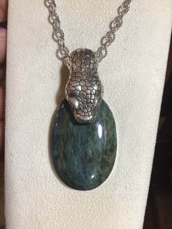 Sterling Serpent Velvet Obsidian Necklace