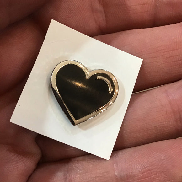Black Emoji Heart Enamel Pin
