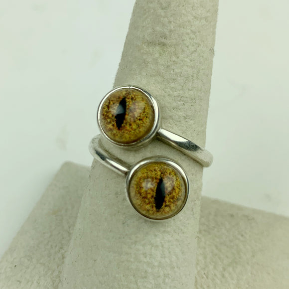 Double Yellow Reptile Eye Bypass Ring Sterling