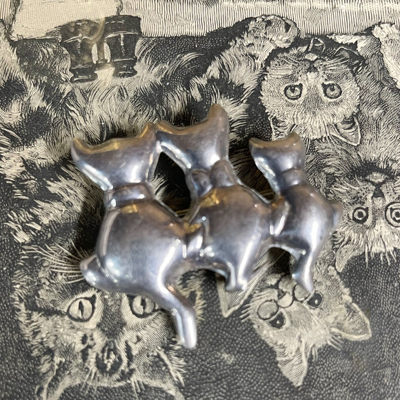 Vintage Sterling Triple Cats Brooch