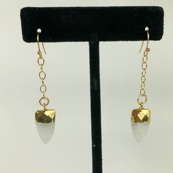 Moonstone Faceted Points Gold Filled Earrings