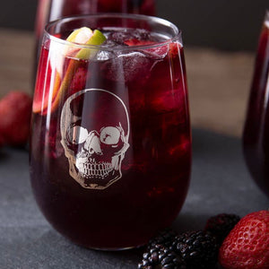 Silver Foil Skull Wine Glass
