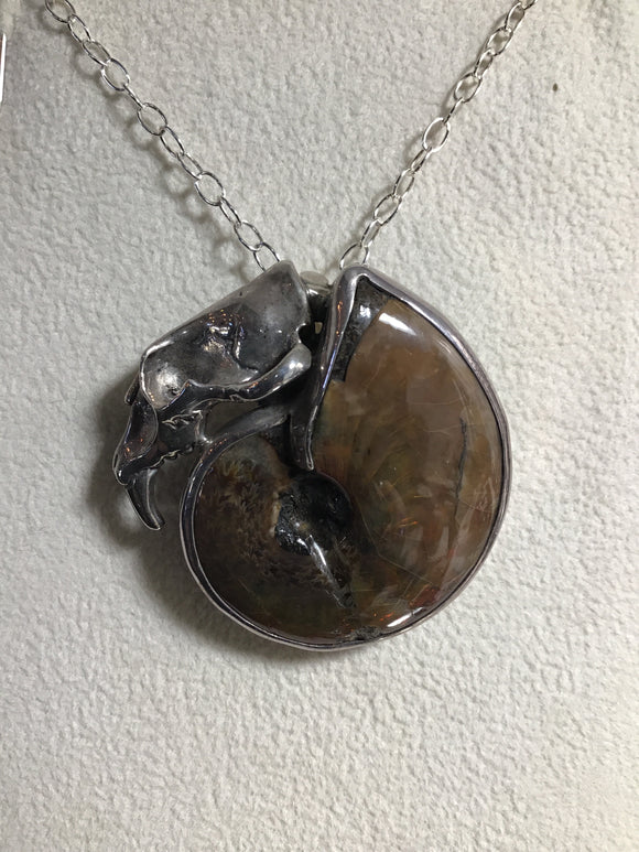 Sterling Saber Tiger Skull Ammonite Necklace