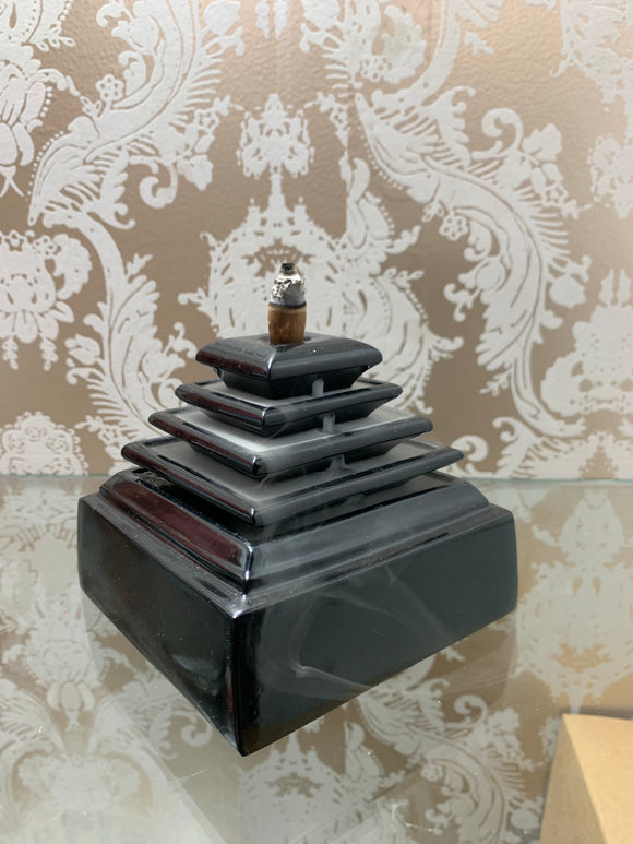 Black Metal Pyramid BackFlow Incense Burner