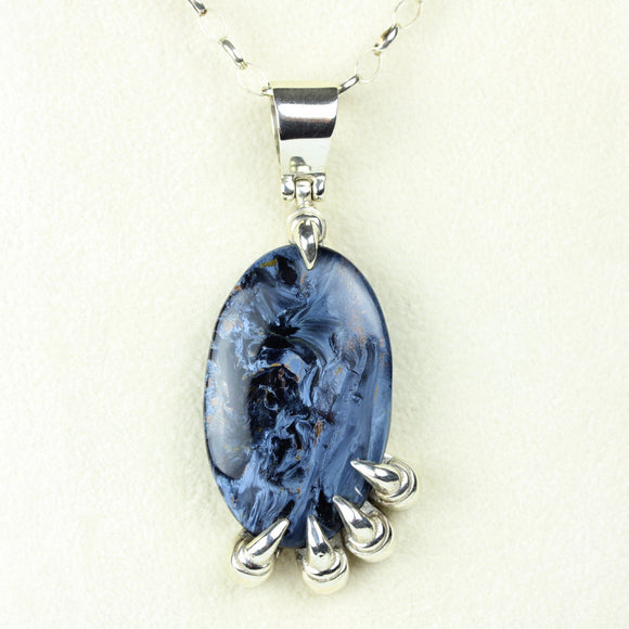 Blue Pietersite Sterling Claw Necklace
