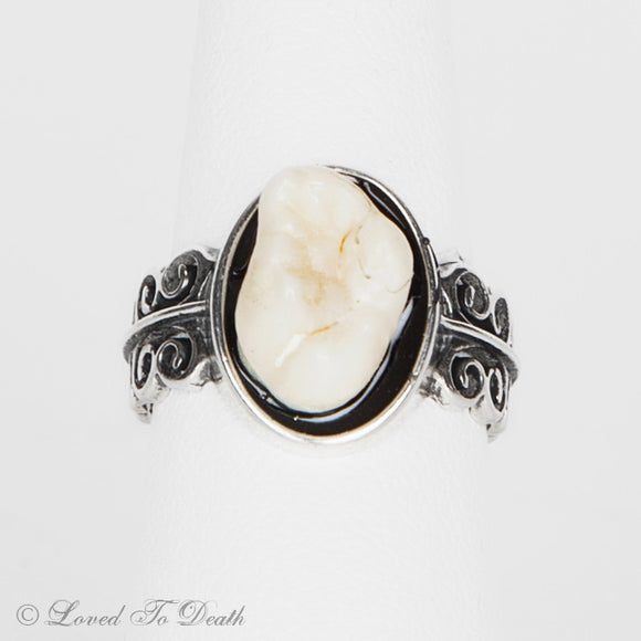 Sterling Silver Double Lacey Band Human Tooth