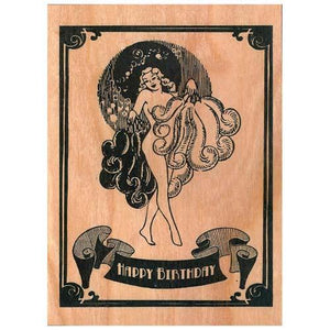 Happy Birthday Noir Woman Wooden Gift Card