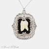 Sterling Silver Victorian Setting Human Tooth Necklace