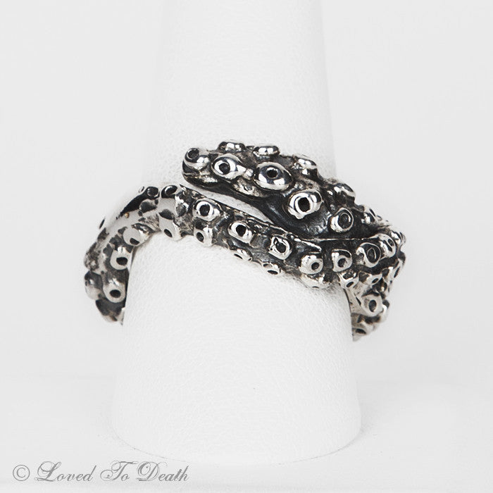 Octopus Tentacle Ring Oxidized Sterling Silver