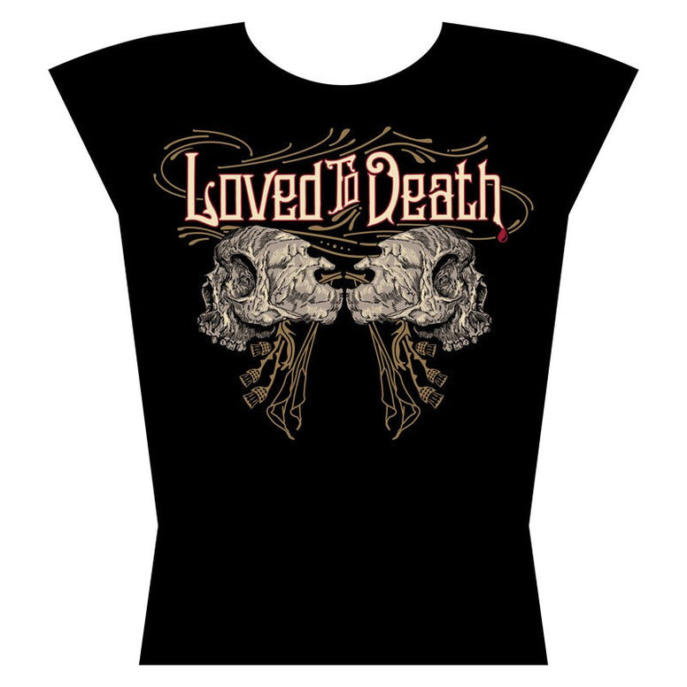 Loved To Death Womens Skull Logo T Shirt