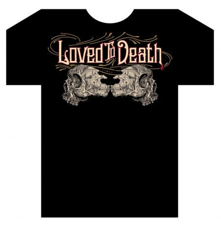 Mens Loved To Death Double Skull Logo T Shirt
