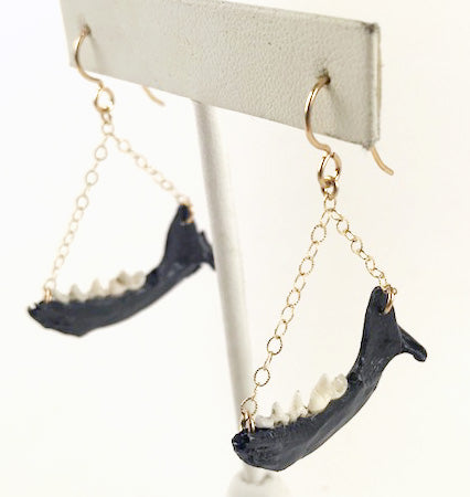 Loved To Death Black Lacquer Mink Jawbone Gold Filled Earrings