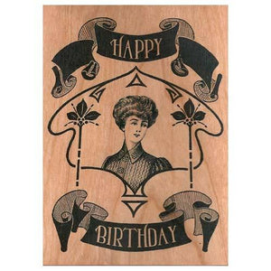 Victorian Woman Wooden Gift Card