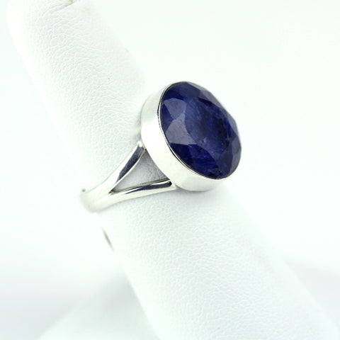 Raw Faceted Sapphire Circle Sterling Ring