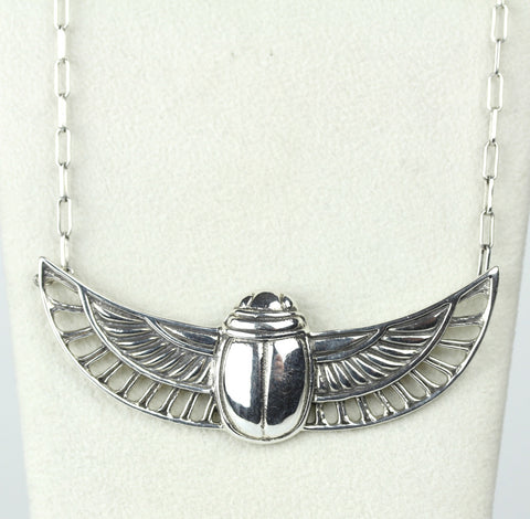 Sterling Scarab Winged Necklace