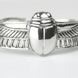 Sterling Silver Scarab Bracelet Cuff 24 K Gold Accents