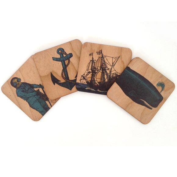 Wood Nautical Coaster Set