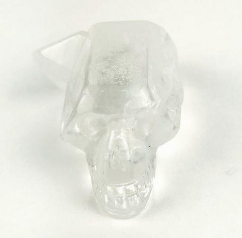 Carved Skull Quartz Point