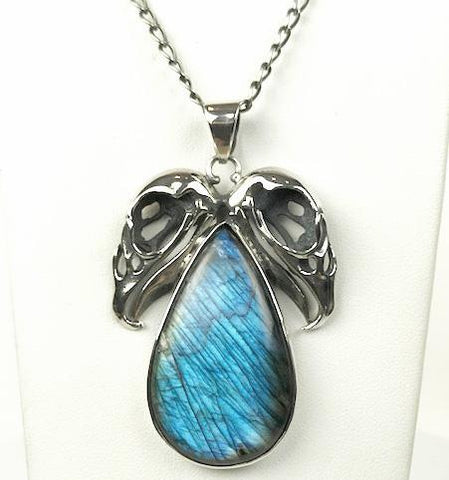 Double Vulture Skull Sterling Labradorite Necklace