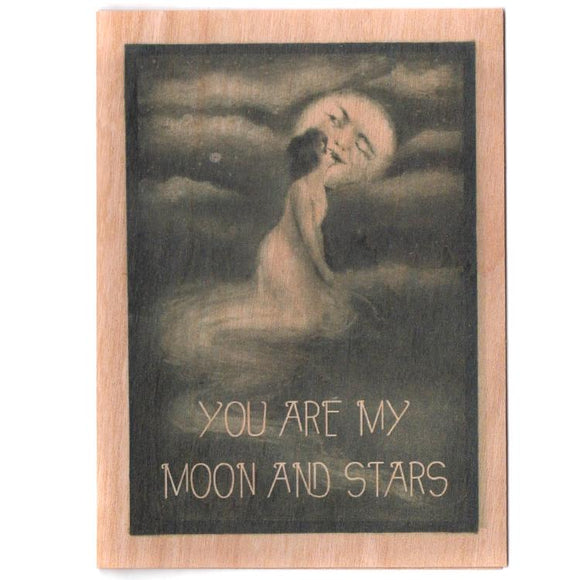 Moon & Stars Wooden Gift Card