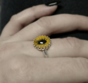 Feline Yellow Taxidermy Eye Sterling Prong Setting