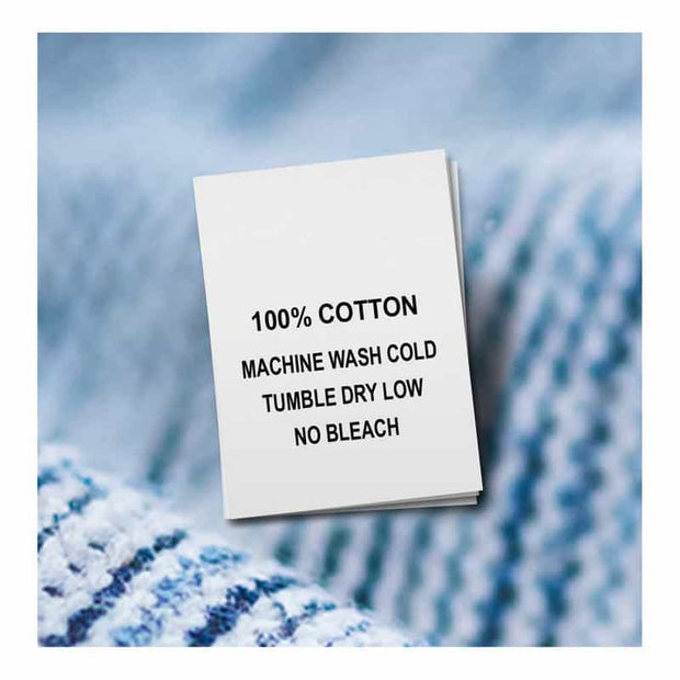 Cotton, Machine Wash Cold, Tumble Dry Low, No Bleach (Qty. 100)