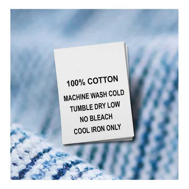 Cotton, Machine Wash Cold, Tumble Dry Low, No Bleach, Cool Iron (Qty. 100)